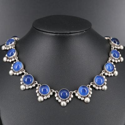 1940s Casa Figueroa 980 Silver and Glass Cabochon Necklace