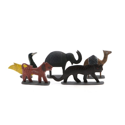 Collection of Hand-Painted Indian Metal Animal Figurines, Contemporary