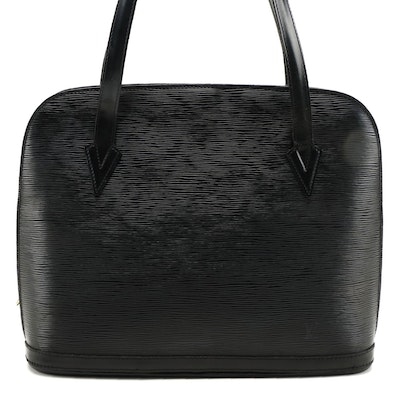 Modified Louis Vuitton Lussac Shoulder Bag in Black Epi Leather