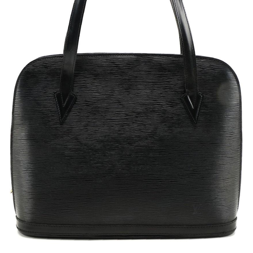 Modified Louis Vuitton Lussac Shoulder Bag in Black Epi Leather