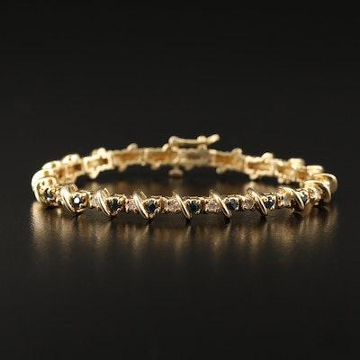 14K Diamond and Sapphire Link Bracelet