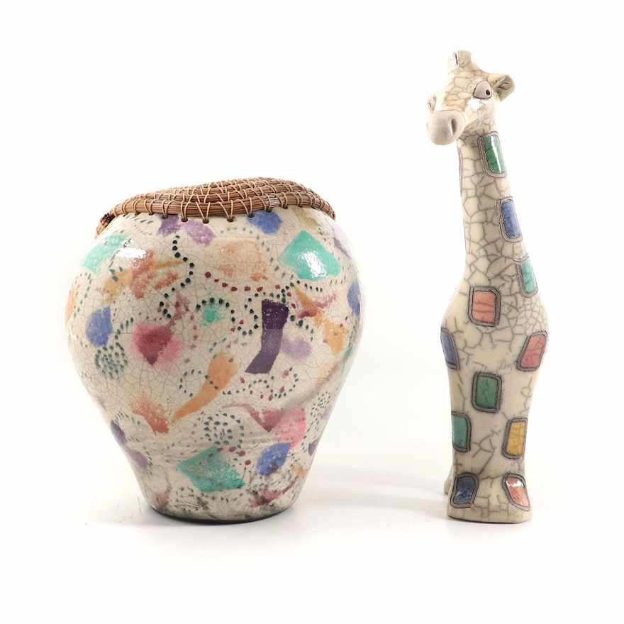 The Fenix South African Raku Pottery Giraffe Figure and Vase, Contemporary