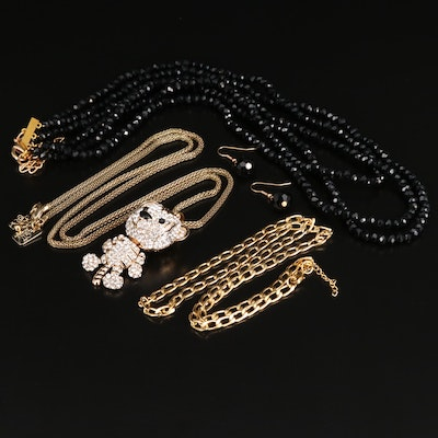 Selection of Jewelry Including Tiger Pendant Necklace and Drop Earrings