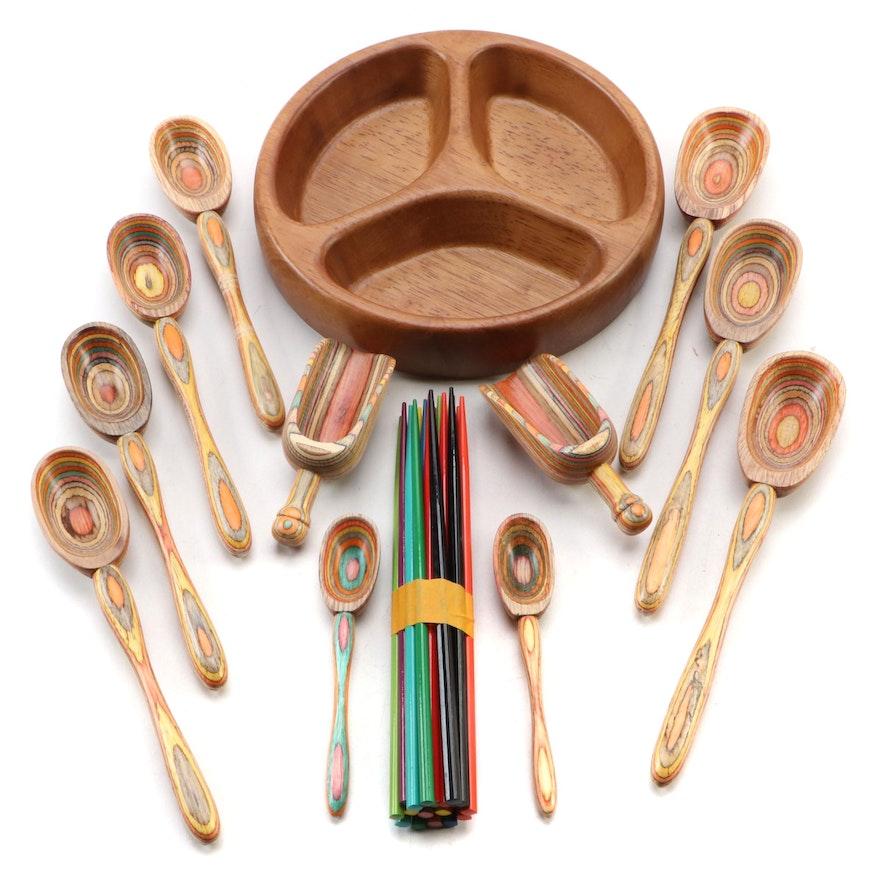 Dansk Teak Divided Bowl with Turned Wood Serving Utensils with Chopsticks