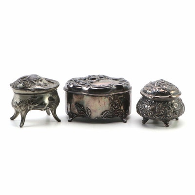 Rogers Silver Plate Co. and Other Silver Plate Jewelry Caskets, Antique