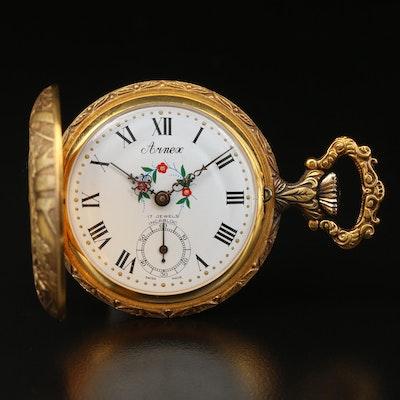 Vintage Arnex Gold Tone Hunting Case Pocket Watch