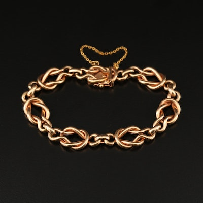 14K Rose Gold Knotted Link Bracelet