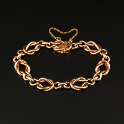 14K Rose Gold Knotted Link Bracelet