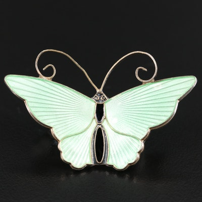 Vintage David Andersen Sterling Enamel Butterfly Brooch