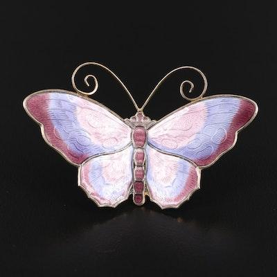 Vintage David Andersen Enamel Butterfly Brooch