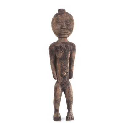 Dan Style Hand-Carved Wood Male Figure, West Africa