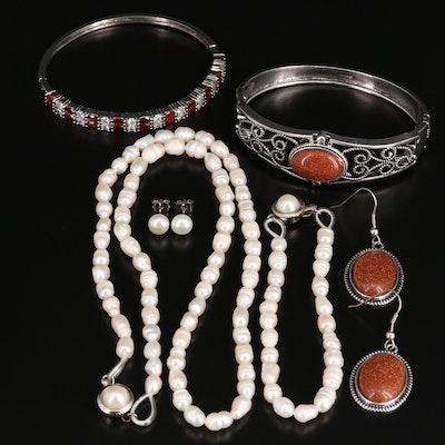 Assorted Jewelry with Pearl, Sunstone Glass, Garnet and Cubic Zirconia