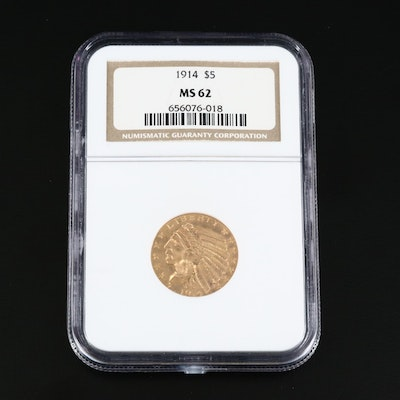NGC Graded MS62 1914 Indian Head $5 Gold Half Eagle