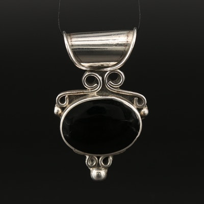 Sterling Silver Balck Onyx, Garnet and Inlay Pendants