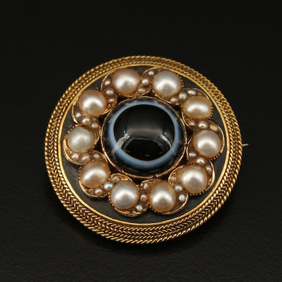 Mid-Victorian 14K Onyx and Seed Pearl Mourning Brooch with Chamber