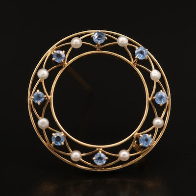 Early 1900s Gibson Krugler Co. 14K Sapphire and Seed Pearl Circle Brooch