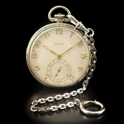 1926 Elgin Cavalier 14K White Gold Open Face Pocket Watch