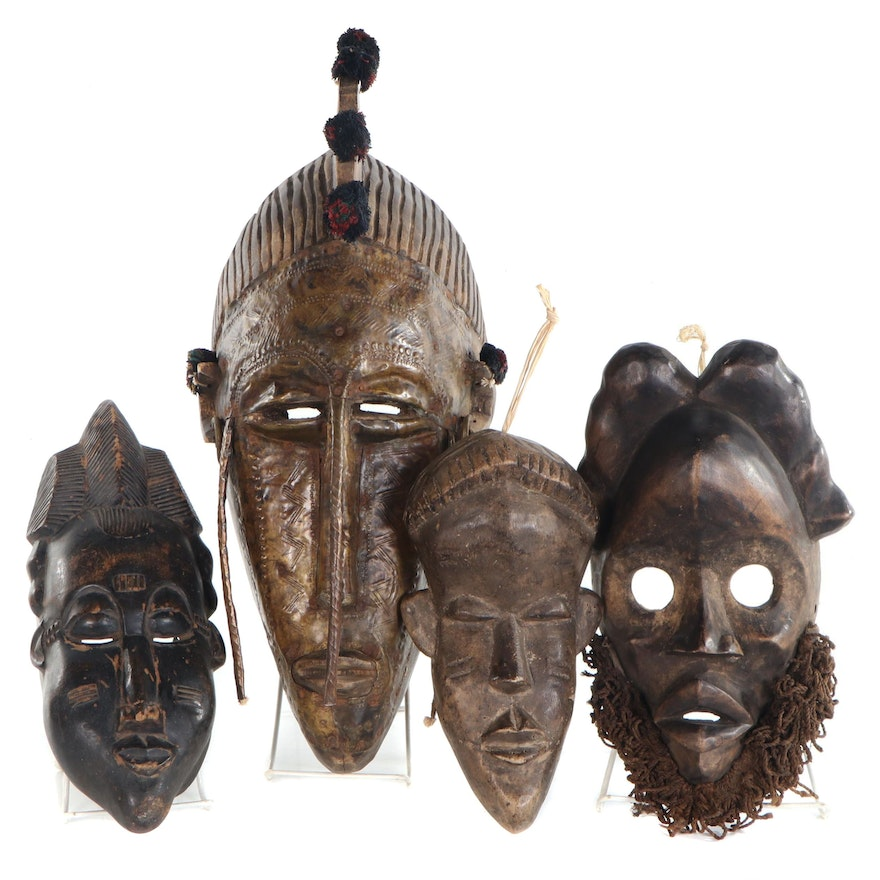 West African Carved Wood Masks Including Dan, Marka, and Others