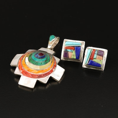 Southwest Sterling and 950 Silver Mosaic Coral and Gemstone Pendant and Earrings