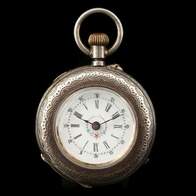 Antique 800 Silver Open Face Pocket Watch