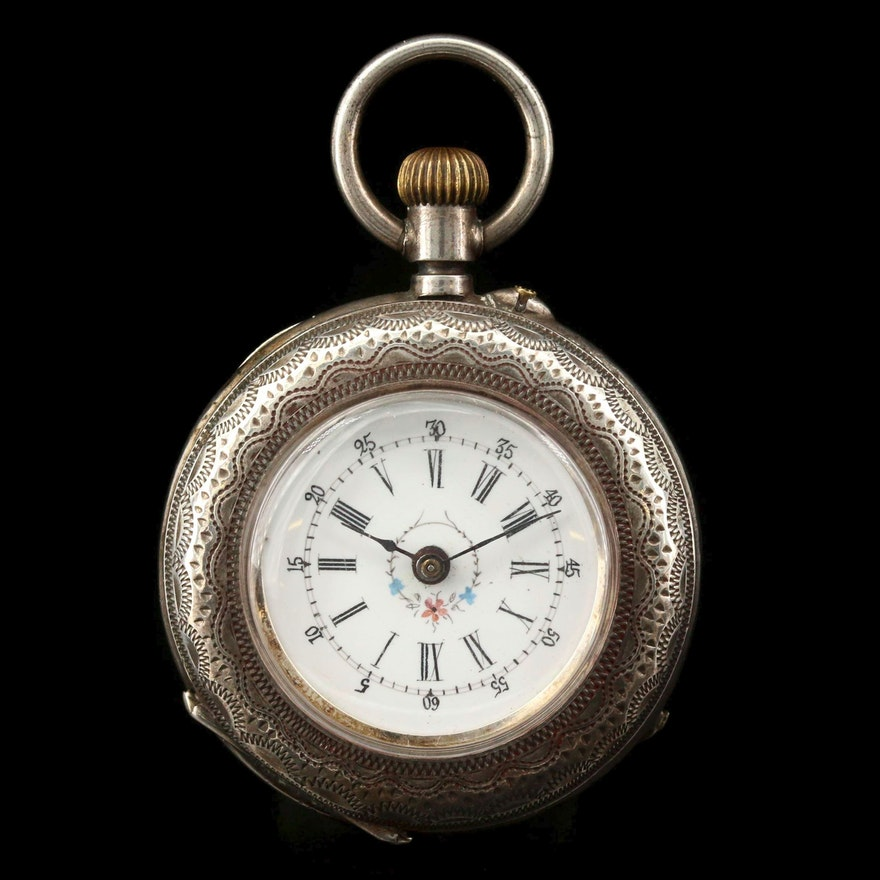 Antique 800 Silver Open Face Pocket Watch