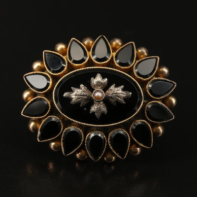 Victorian Seed Pearl and French Jet Mourning Converter Brooch