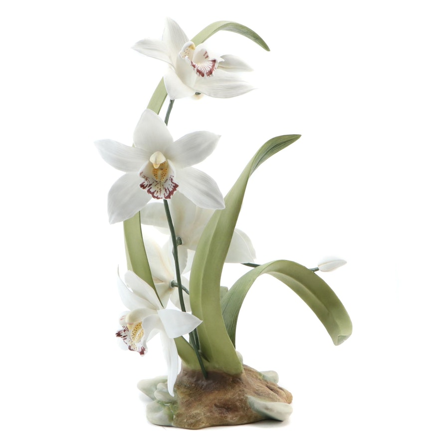 "Limited Edition Boehm ""White Cymbidium Orchid"" Porcelain Figurine, 1986"