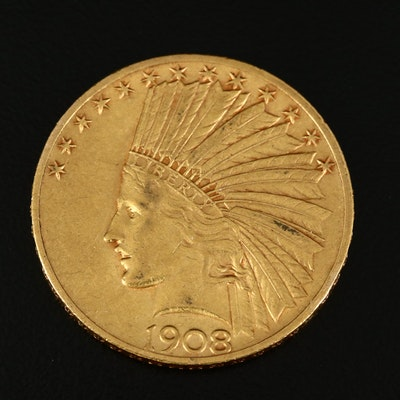 1908 Indian Head $10 Gold Eagle Coin