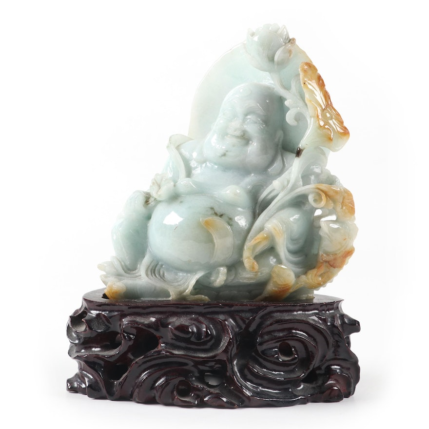 Chinese Carved Jadeite Budai with Wooden Stand