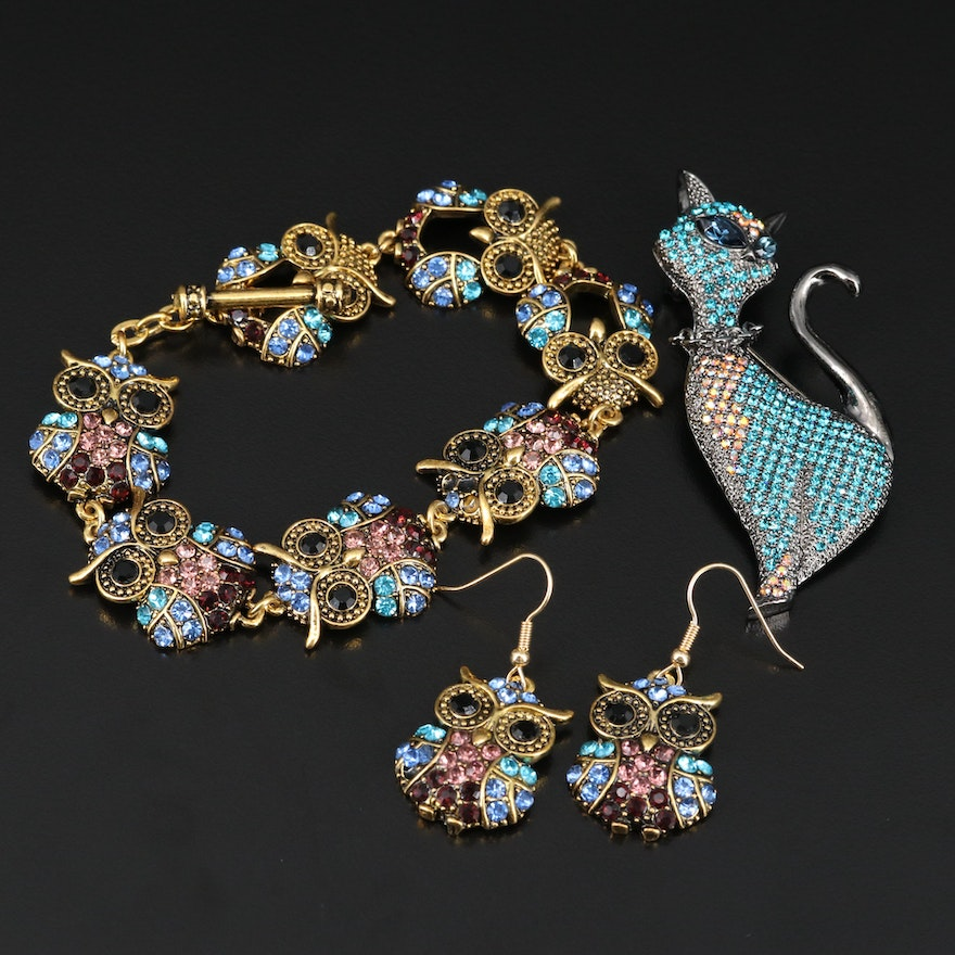 Multi-Colored Glass Owl Motif Bracelet and Earrings Set with Cat Brooch
