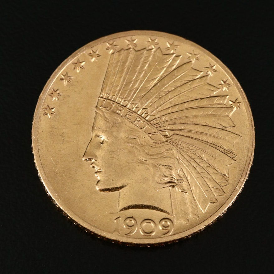 1909 Indian Head $10 Gold Eagle Coin