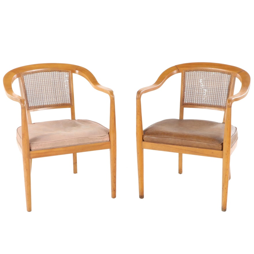 Pair of Grand Ledge Chair Co. Mid Century Modern Birch Armchairs