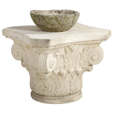 Composite Corinthian Capital Accent Piece and Concrete Bird Bath Bowl