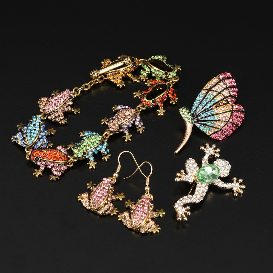 Assorted Frog and Butterfly Themed Jewelry