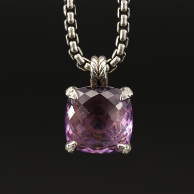 """David Yurman Amethyst and Diamond """"Chatelaine"""" Pendant Necklace with Pouch"""