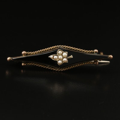 Victorian 9K Black Onyx and Seed Pearl Mourning Bar Brooch