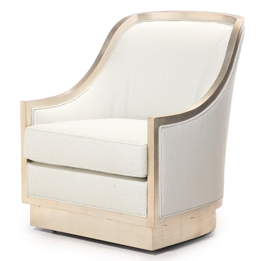 Silver-Leafed Lounge Chair on Casters