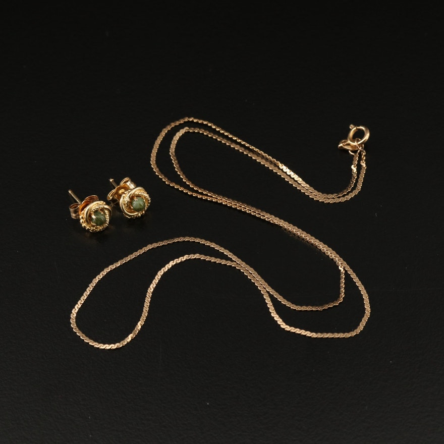 14K Nephrite Stud Earrings and Serpentine Chain Necklace