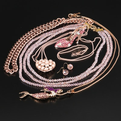Assorted Costume Jewelry Featuring Mermaid and High Heel Pendant Necklaces