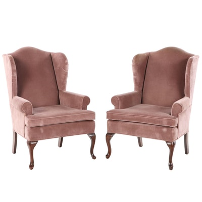 Pair of Fairfield Chair Co. Queen Anne Style Upholstered Wingback Armchairs