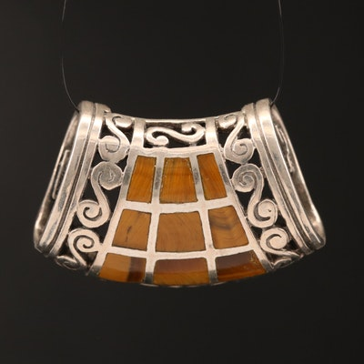Sterling Silver Tiger's Eye Inlay Slide Pendant