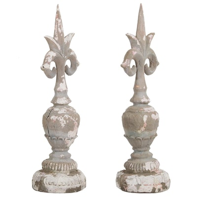 Weathered Distressed Cast Plaster Finials