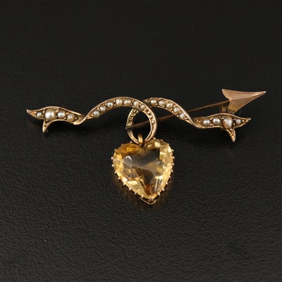Victorian 9K Heart Faceted Citrine and Seed Pearl Brooch