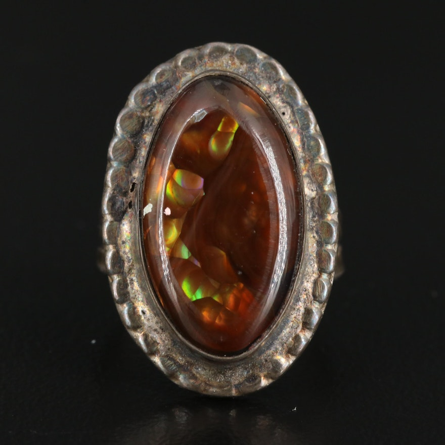 Western Style Sterling Silver Fire Agate Ring