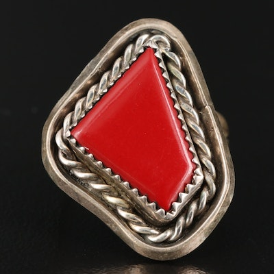 Western Style Sterling Silver Imitation Coral Ring