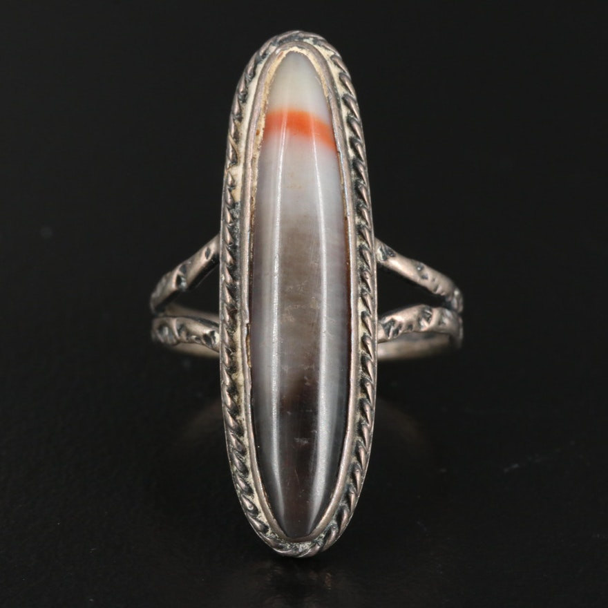 Western Style Sterling Silver Banded Agate Navette Ring
