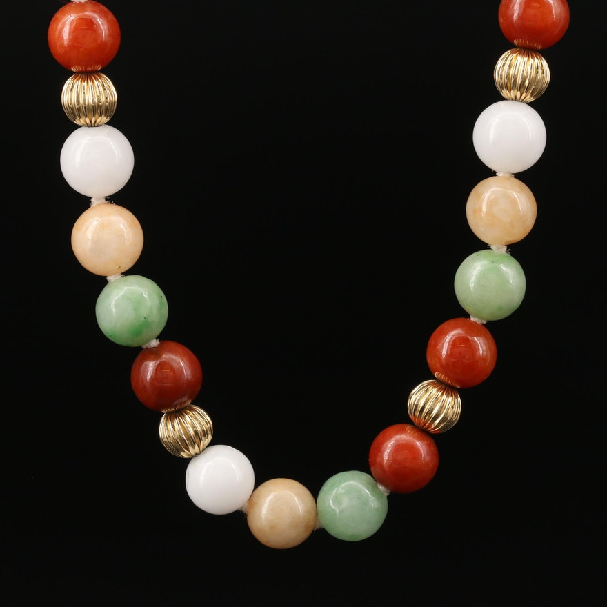 Jadeite Beaded Necklace with 14K Closure and Spacing Beads