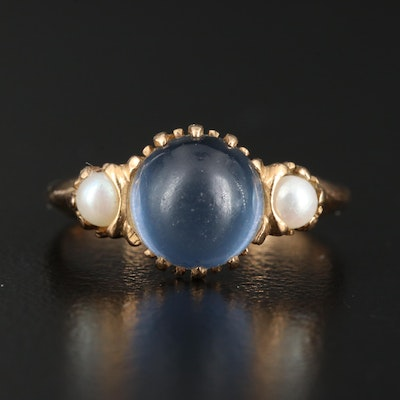 Vintage 14K Star Spinel and Pearl Ring