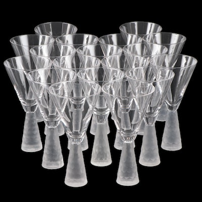 "Artland ""Presscott"" Crystal Wine Glasses with Frosted Stems"