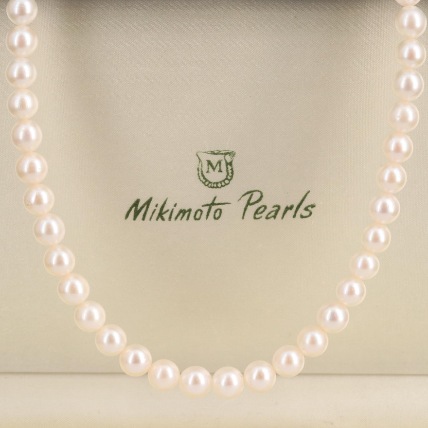 Mikimoto Pearl Strand Necklace with Sterling Clasp